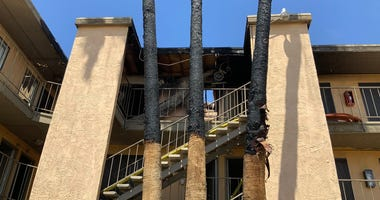 Damage from Fire at Las Vegas Blvd Siegel Suites location on 6-5-20