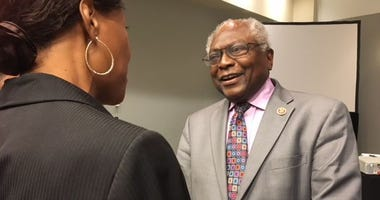 Rep. James Clyburn, D-S.C., talked to audience members Sept. 14, 2018 after a panel on environmental justice at the Congressional Black Caucus Foundation's legislative conference in Washington, D.C.