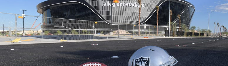General overall aerial view of Las Vegas Raiders helmet and Wilson 2020 NFL The Duke official football at the Allegiant Stadium construction site.