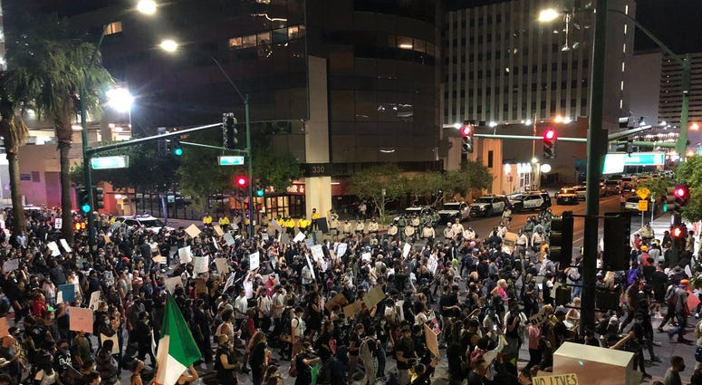 Thousands of protesters flow into downtown Las Vegas on Monday, June 1, in a Black Lives Matter rally to protest the police slaying of George Floyd in Minneapolis