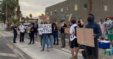 Protesters marching near UNLV on 6-2-20