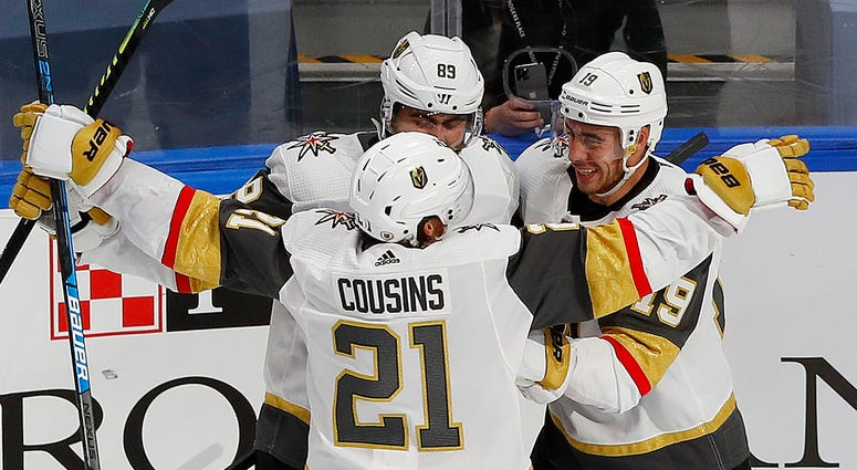 Golden Knights celebrate following a goal against the St. Louis Blues on August 6th 2020