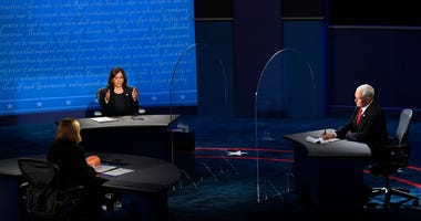 Sen. Kamala Harris speaks on stage during the Vice Presidential debate between Republican nominee Vice President Mike Pence and Democratic nominee Sen. Kamala Harris