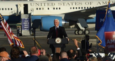 Vice President Mike Pence speaks during a campaign rally at the Reno-Tahoe International Airport in Reno on Oct. 29, 2020
