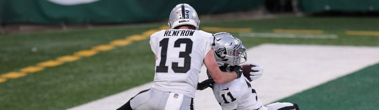 Henry Ruggs III and Hunter Renfrow celebrate a touchdown against the New York Jets on 12-6-20