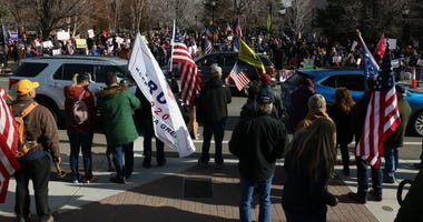 Trump supporters gather for a protest in front of the Nevada State Capital Building and the Nevada State Legislature Building in Carson City on Jan. 6, 2021.