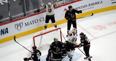 Vegas Golden Knights center William Karlsson (71) celebrates his goal against the Arizona Coyotes during the third period at Gila River Arena.