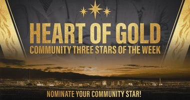 Logo for the Vegas Golden Knights Heart Of Gold campaign