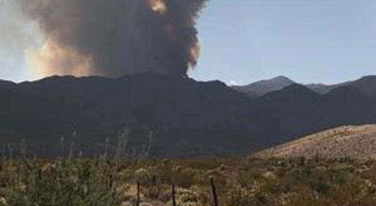 Distant view of the Virgin Mountain Fire in Mesquite on 9-22-20