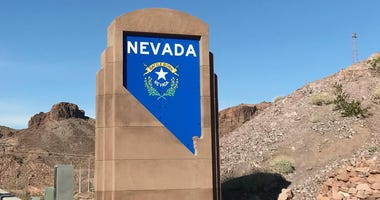"""Welcome To Nevada"" sign near the Hoover Dam Bridge"
