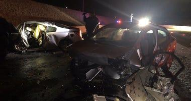 Scene of wrong way crash on 215 and Charleston on 12-22-19