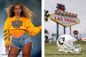 Beyonce Performing and Raiders Helmet