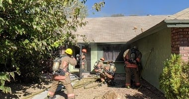 Scene of a house fire near Vegas Drive and Buffalo on 9-13-20