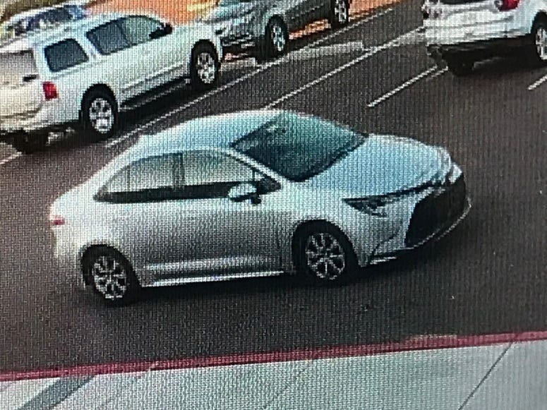 snapshot of vehicle wanted in mail theft 1-30-20