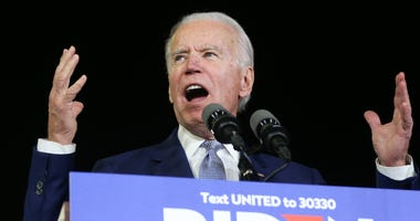 Democratic presidential candidate former Vice President Joe Biden speaks at a Super Tuesday campaign event at Baldwin Hills Recreation Center on March 3, 2020 in Los Angeles, California.