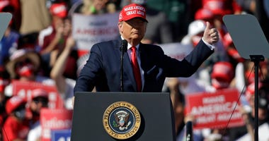 U.S. President Donald Trump speaks during a campaign rally on October 28, 2020 in Bullhead City, Arizona.