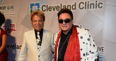 "Siegfried Fischbacher (L) and Roy Horn attend the 18th annual Keep Memory Alive ""Power of Love Gala"" benefit for the Cleveland Clinic Lou Ruvo Center for Brain Health honoring Gloria Estefan and Emilio Estefan Jr. at the MGM Grand Garden Arena on April 26"