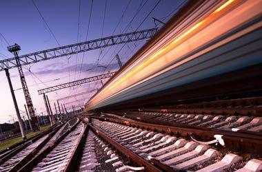 Rail Train at Sunset