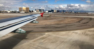 Plane landing at McCarran Airport
