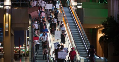 Black Lives Matter protesters march down the Las Vegas Strip