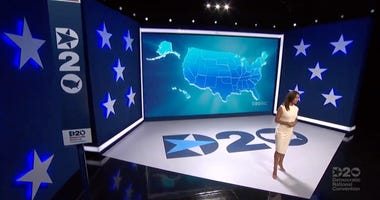 Actress and activist Eva Longoria speaks to viewers during the Democratic National Convention at the Wisconsin Center.