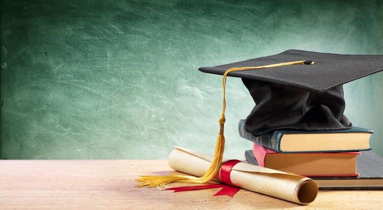 High School Graduation Cap With Books