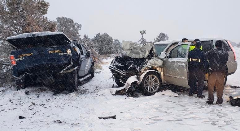 Picture Of Cadillac Accident with NHP Truck on 11-28-19
