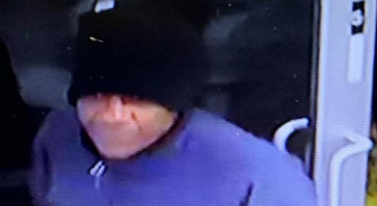 Surveillance snapshot of robbery suspect from 12-23-19