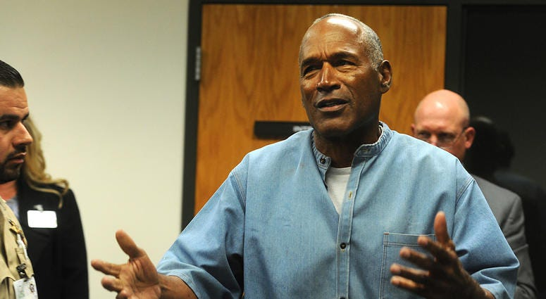 O.J. Simpson reacts after learning he was granted parole at Lovelock Correctional Center.