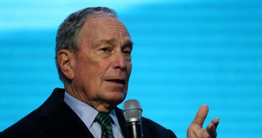Democratic presidential candidate former New York City mayor Michael Bloomberg speaks during a discussion about climate change with former California Gov. Jerry Brown during the American Geophysical Union Conference on December 11, 2019