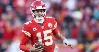 PATRICK MAHOMES #15 OF THE KANSAS CITY CHIEFS reacts in the second half against the Tennessee Titans in the AFC Championship Game at Arrowhead Stadium on January 19, 2020
