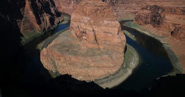 he Colorado River wraps around Horseshoe Bend on March 30, 2015 in Page, Arizona