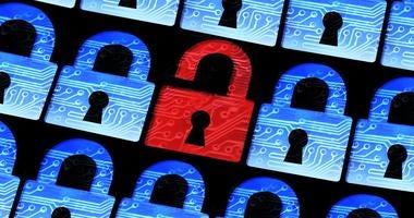 Hacked symbol of open red padlock surrounded by secured blue pad lock
