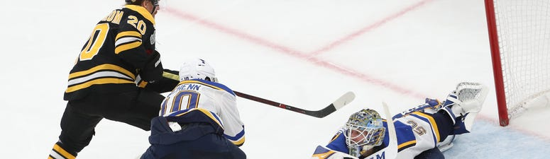 Jordan Binnington #50 of the St. Louis Blues tends the net against the Boston Bruins in Game Seven of the 2019 NHL Stanley Cup Final at TD Garden on June 12, 2019 in Boston, Massachusetts.