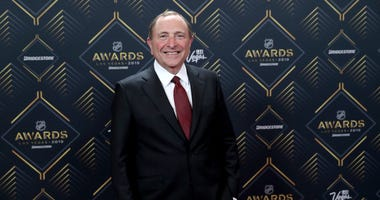 NHL commissioner Gary Bettman arrives at the 2019 NHL Awards at the Mandalay Bay Events Center on June 19, 2019