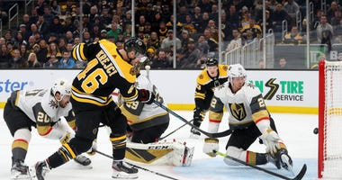 David Krejci #46 of the Boston Bruins scores a goal against the Vegas Golden Knights during the third period at TD Garden on January 21, 2020