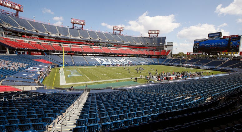A wide view of the interior of Nissan Stadium during the second half of a 33-30 Tennessee Titans victory over the Jacksonville Jaguars on September 20, 2020