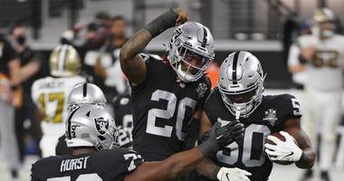 Las Vegas Raiders celebrate an interception against the New Orleans Saints on September 21st, 2020