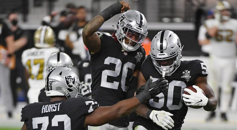 Las Vegas Raiders celebrate an interception against the New Orleans Saints on September 21st, 2020