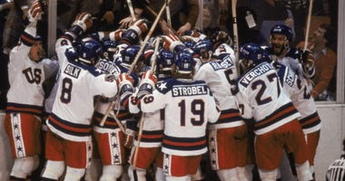 Team USA Celebrates after beating the Soviet Union On Feb 22nd, 1980