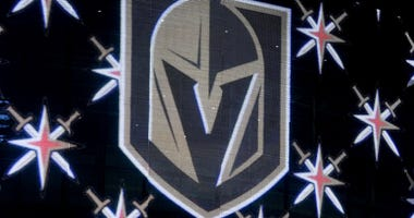 The team logo for the Vegas Golden Knights is displayed on T-Mobile Arena's video mesh wall after being announced as the name for the Las Vegas NHL franchise at T-Mobile Arena on November 22, 2016