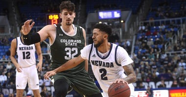 Nevada's Jalen Harris drives while taking on Colorado State during their basketball game at Lawlor Events Center in Reno on Jan. 1, 2020