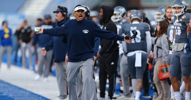 Nevada Wolf Pack head coach Jay Norvell reacts with an official during the second half of the Famous Idaho Potato Bowl against the Ohio Bobcats