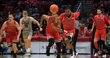 San Diego State Aztecs guard KJ Feagin (10) pursues the ball in the first half against the Nevada Wolf Pack at Viejas Arena.