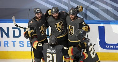 egas Golden Knights right wing Alex Tuch (89) celebrates with teammates after scoring a goal against the Vancouver Canucks during the second period in game one of the second round of the 2020 Stanley Cup Playoffs