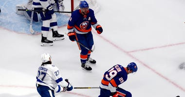 New York Islanders center Brock Nelson (29) celebrates his goal scored against the Tampa Bay Lightning during the third period in game three of the Eastern Conference Final of the 2020 Stanley Cup Playoffs