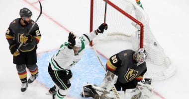 Dallas Stars right wing Corey Perry (10) celebrates the game winning goal scored by Dallas Stars right wing Denis Gurianov (34, not pictured) during the overtime period against the Vegas Golden Knights in game five of the second round of the 2020 Stanley