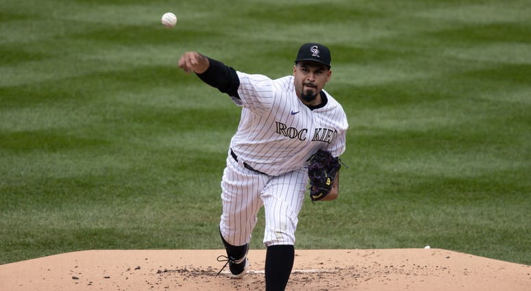 olorado Rockies starting pitcher Antonio Senzatela (49) pitches in the first inning against the Los Angeles Dodgers