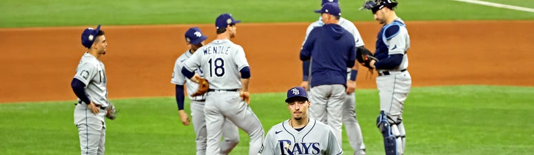 Tampa Bay Rays starting pitcher Blake Snell (4) is taken out of the game during the sixth inning against the Los Angeles Dodgersduring game six of the 2020 World Series