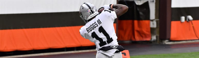 Las Vegas Raiders wide receiver Henry Ruggs III (11) catches a ball in the end zone but was ruled out of bounds during the first half against the Cleveland Browns at FirstEnergy Stadium.